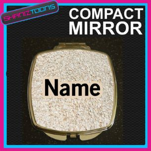 SHELLS BEACH  PRINT PERSONALISED NAME GIFT COMPACT LADIES METAL HANDBAG MIRROR